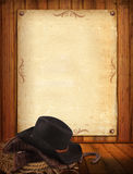Fundo ocidental com roupa do cowboy e papel velho para o texto Fotos de Stock Royalty Free