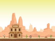 Fundo ocidental selvagem, velho da garganta com banco ilustração do vetor
