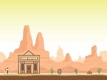 Fundo ocidental selvagem, velho da garganta com escritório de terra ilustração do vetor