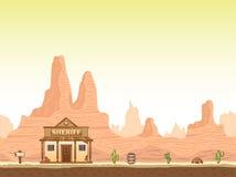 Fundo ocidental selvagem, velho da garganta com xerife ilustração do vetor