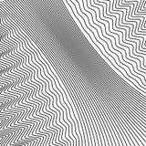 Fundo ondulado das linhas Superfície dinâmica monocromática com efeito da ilusão ótica ilustração royalty free