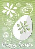 Fundo ondulado do verde feliz da multa da Páscoa com motivo floral cortado e branco do papel do ovo da páscoa Molde para o cartão Foto de Stock