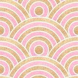 Fundo ondulado sem emenda Ouro e listras cor-de-rosa Imagens de Stock Royalty Free