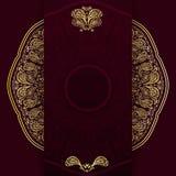 Fundo ornamentado de Borgonha com mandala dourada Molde para o menu, o cartão, o convite ou a tampa Ilustração do vetor Imagens de Stock