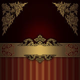 Fundo ornamentado do ouro com beira elegante Foto de Stock