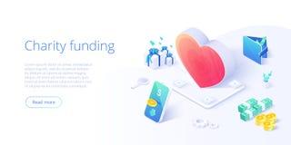 Fundo ou cuidado da caridade no conceito isométrico do vetor Ilustração voluntária da metáfora da comunidade ou da doação  ilustração royalty free
