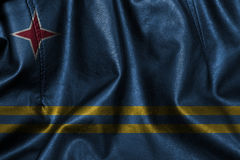 Fundo ou textura de couro com mistura da bandeira de Aruba Fotografia de Stock Royalty Free