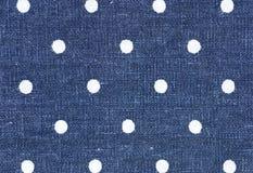 Fundo ou textura de linho azul do teste padrão do polkadot da tela imagens de stock royalty free