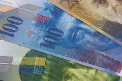 Fundo ou textura suíça do sumário da franquia do dinheiro imagens de stock royalty free