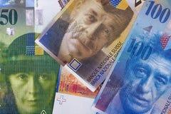 Fundo ou textura suíça do sumário da franquia do dinheiro fotografia de stock