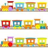 Fundo para miúdos com trens dos desenhos animados Fotos de Stock Royalty Free