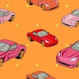 Fundo para o empacotamento festivo sob a forma dos carros e das estrelas do brinquedo Fotografia de Stock