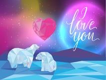 Fundo para a Web, bandeiras da galáxia e dos ursos polares, flayers, cartões Eu te amo rotulando ilustração royalty free