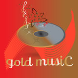Fundo para a Web, cópia do disco da música do registro do ouro ilustração stock