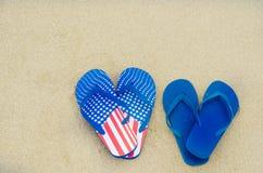 Fundo patriótico dos EUA no Sandy Beach Fotos de Stock Royalty Free