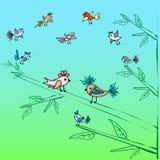 Fundo pequeno bonito da natureza da árvore genealógica dos pássaros Imagens de Stock