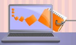Fundo phishing do conceito dos dados pessoais, estilo dos desenhos animados ilustração stock