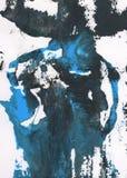 Fundo pintado à mão abstrato azul, cinzento e preto fotos de stock