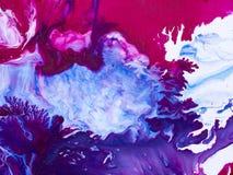 Fundo pintado à mão abstrato azul e cor-de-rosa, pintura acrílica Fotografia de Stock Royalty Free