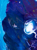 Fundo pintado à mão abstrato azul, pintura acrílica no canva Fotos de Stock Royalty Free