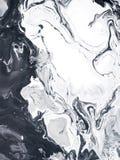 Fundo pintado à mão abstrato criativo de mármore preto e branco Imagem de Stock