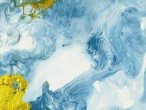 Fundo pintado à mão abstrato de mármore do azul e do ouro ilustração stock