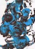 Fundo pintado à mão abstrato do azul, o marrom e o branco imagens de stock royalty free
