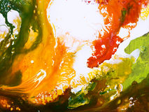 Fundo pintado à mão abstrato verde, vermelho e amarelo, acrílico Imagem de Stock