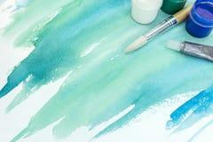 Fundo pintado à mão da aquarela no papel textured no co verde foto de stock