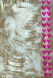 Fundo pintado branco com corações Fotografia de Stock