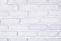 Fundo pintado branco da textura da parede de tijolo Fotografia de Stock