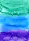 Fundo pintado da aguarela mão abstrata Textura colorida em cores verdes, azuis e roxas Fotos de Stock