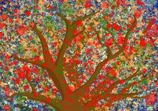 Fundo pintado digital colorido da árvore imagem de stock