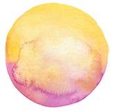 Fundo pintado do círculo aquarela abstrata Fotos de Stock Royalty Free