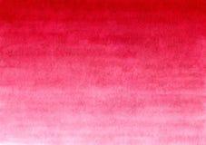 Fundo pintado feito a mão vermelho do inclinação da aquarela no papel textured Fotos de Stock
