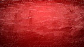 Fundo poligonal abstrato vermelho com linhas do wireframe Fotos de Stock Royalty Free