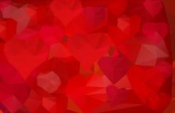 Fundo poligonal com corações Fotos de Stock Royalty Free
