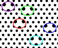 Fundo pontilhado preto e branco que tem projeto gerado por computador da ilustração das pandas coloridas ilustração royalty free