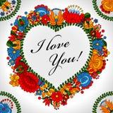Fundo popular tradicional húngaro do coração do ornamento Foto de Stock Royalty Free