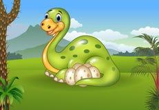 Fundo pré-histórico com dinossauro e seus ovos Fotos de Stock Royalty Free