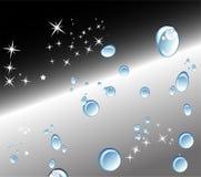 Fundo preto abstrato com gotas e estrelas da água Foto de Stock