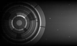 Fundo preto abstrato da tecnologia digital do círculo, fundo futurista do conceito dos elementos da estrutura ilustração do vetor