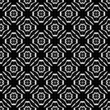 Fundo preto & branco geométrico floral sem emenda decorativo do teste padrão Imagens de Stock Royalty Free