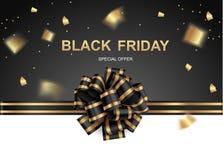 Fundo preto com curva festiva e confetes dourados ilustração royalty free