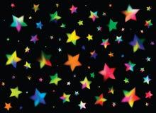 Fundo preto com estrelas coloridas Imagem de Stock