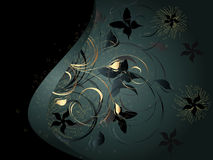 Fundo preto com ornamento floral Foto de Stock Royalty Free