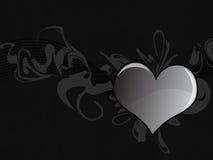 Fundo preto de Grunge do coração Ilustração Stock
