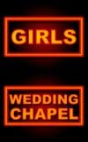Fundo preto de néon da capela do casamento das meninas Fotos de Stock Royalty Free