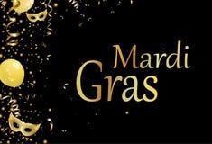 Fundo preto do carnaval com máscaras do ouro ilustração stock