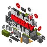 Fundo preto do conceito da venda de sexta-feira, estilo isométrico ilustração do vetor